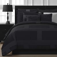 Staniey Collection Frame Jacquard 5pc Full Comforter Set, Black DISTRESSED BAG