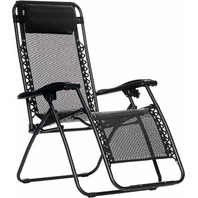 AmazonBasics LF60040-Black Outdoor Zero Gravity Lounge Folding Chair, Black