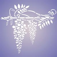 "Stencils for Walls Wisteria 8""x7"" Reusable Wall Stencil for Painting DISTRESSED"
