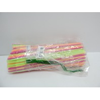 "BarProducts.com 17"" Mammoth Bendy Straws ASSORTED NEON, 200ct DISTRESSED PKG"