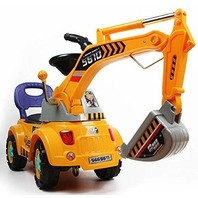 Poco Divo Digger Scooter, Ride-on Excavator Construction Truck, Yellow CRACKED