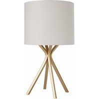 "Rivet ALT17032519 18""Gold Bedside Table Desk Lamp, Linen Shade MINOR SHADE BENDS"