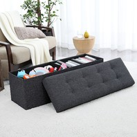 Ornavo Home Foldable Tufted Linen Storage Ottoman Bench Foot Stool, Black SCUFFS