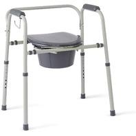 Medline Steel 3-in-1 Bedside Commode, Portable Toilet, Gray BOX DAMAGE