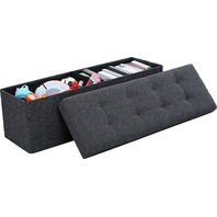 Ornavo Home Foldable Tufted Linen Storage Ottoman Bench Foot Stool, Black