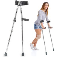 """Pivit Deluxe Aluminum Forearm Crutches, 5'5""""-6'4"""" (Pack of 2)MISSING 1 FOOT"""
