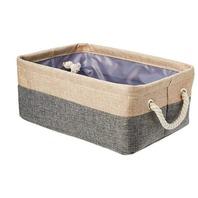 AmazonBasics Two Tone Linen Storage Basket Bin with Handles, Set of Two, Small
