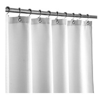 Barossa Design Waffle Weave Heavy Duty Decorative Shower Curtain, White, 71x78