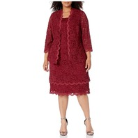 R&M Richards Women's Plus Size 2 Pc Scalloped Trim Tier Jacket Dress, Garnet, 20