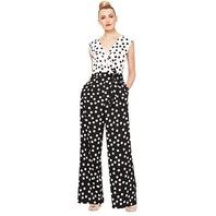 S.L. Fashions Women's Petite Sleeveless Jumpsuit, Black Ivory, 10P