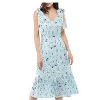 Allegra K Women's V Neck Bow Tie Strap Ruffle Hem Floral Midi Dress Light Blue M