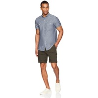 Goodthreads Men's Slim-Fit Short-Sleeve Chambray Shirt, Navy, Medium Tall