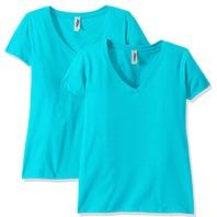 Marky G Apparel Women's Short Sleeve V-Neck Tees, Tahiti Blue, 2 Pack, M