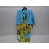 Maya Brooke Women's Sheath Dress, Yellow Aqua, 8