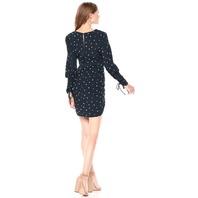 ASTR the label Women's Maureen Long Sleeve Ruffled Dress, Navy Creme Dot, M
