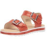Marc Joseph New York Kids Girls Leather Buckle Sandal Loafer, Coral Snake , 4