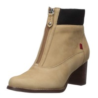 Marc Joseph New York Women's Leather Luxury Ankle Boot with Zipper, Sand, 6.5