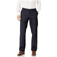 Lee Men's Total Freedom Stretch Relaxed Fit Flat Front Pants, Navy, 40W x 32L