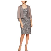 Alex Evenings Women's Midi Length Embroidered Dress w/ Illustion Jacket, Cafe 6P