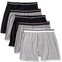 Amazon Essentials Men's 5-Pk Knit Boxer Short Black/Charcoal/Grey Heather, Large