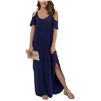 GRECERELLE Women's Casual Loose Cold Shoulder Long Dress w/pockets, Navy, Medium