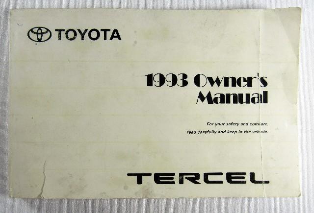 1993 Toyota Tercel Owners Manual Book