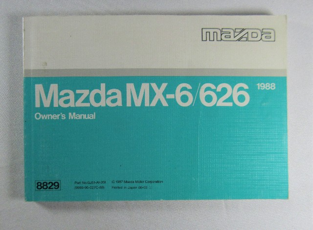 1988 Mazda Mx  626 Owners Manual Book