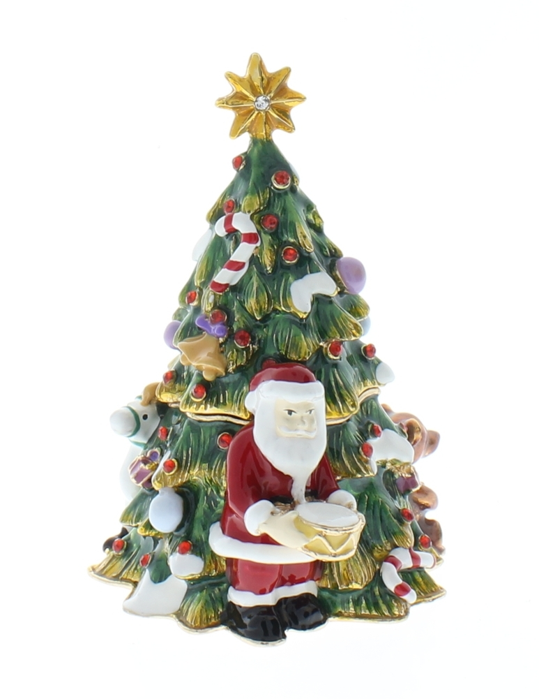 Jeweled Christmas Tree with Santa Ciel Collectible Trinket Box ...