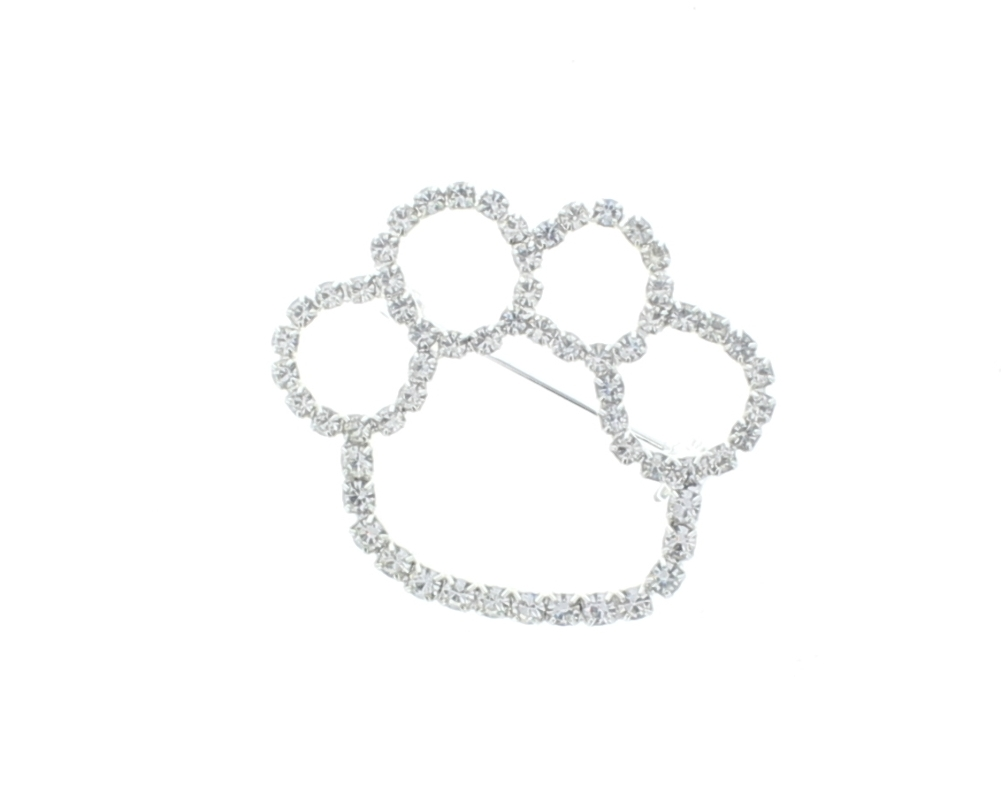 Clear Paw Print Outline Rhinestone Pin with Silver Tones Brooch Broach