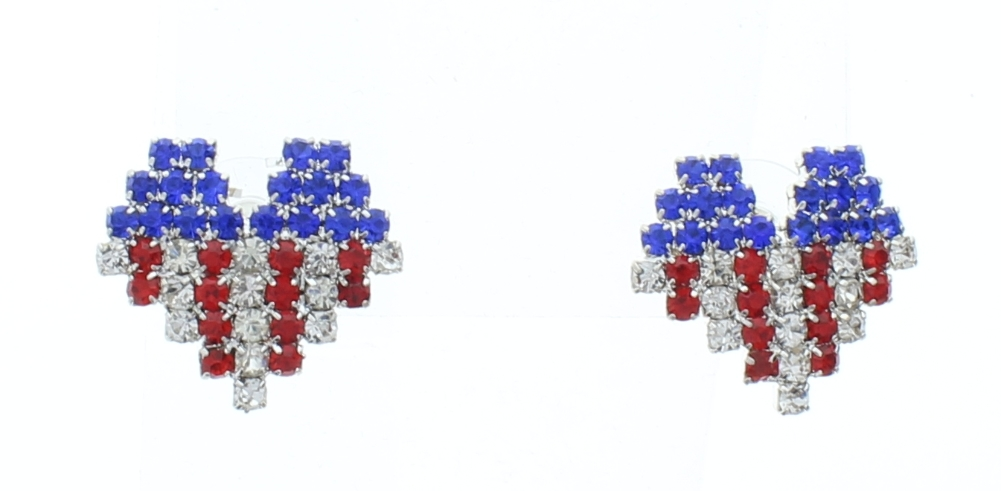 Red White And Blue Heart Dangle Drop Earrings Usa Flag Us American