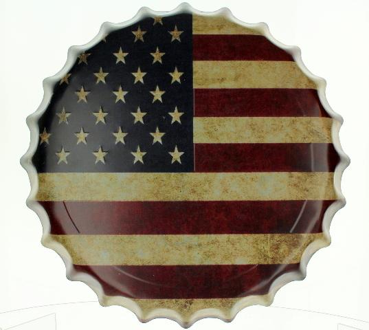 US American Flag Bottle cap Round Metal Sign Pub Game Room Bar Garage