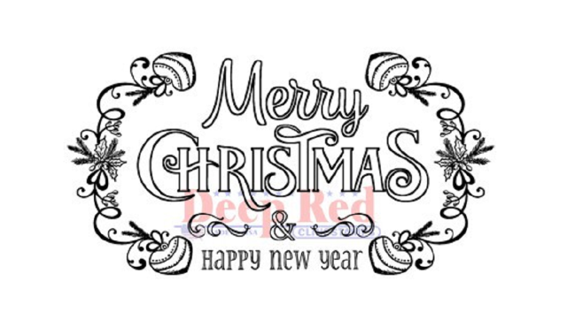 Deep Red Rubber Cling Stamp Merry Christmas and Happy New Year