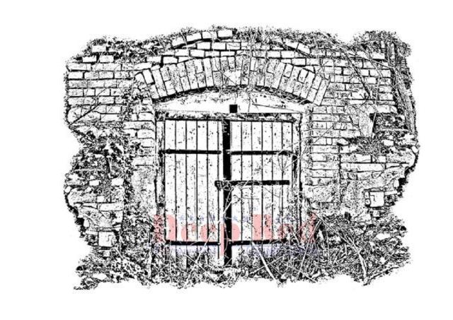 Deep Red Rubber Stamp Secret Garden Gate Brick Wall