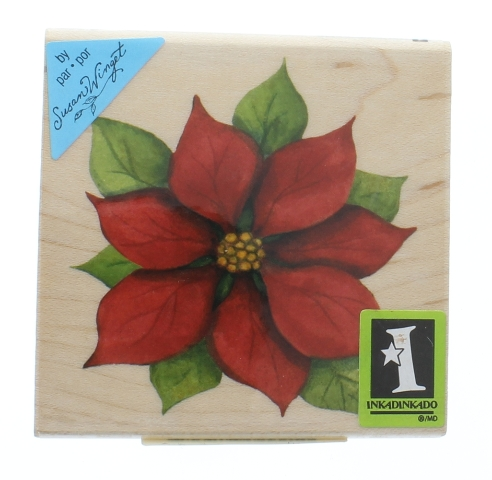 Inkadinkado Merry Christmas Poinsettia Flower Bloom Wooden Rubber Stamp