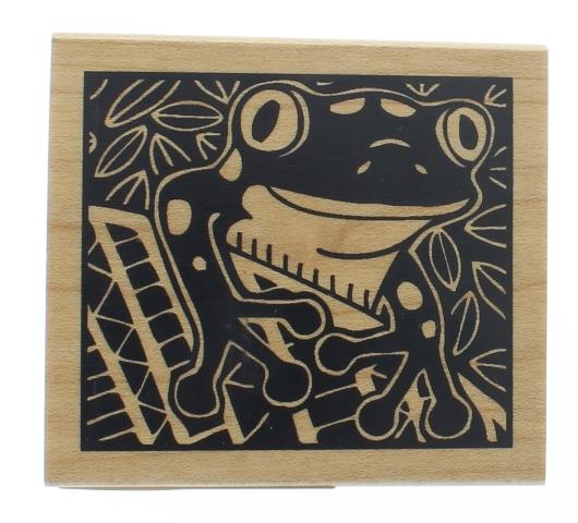 Inkadinkado Tree Frog Bold Shadow  Wooden Rubber Stamp