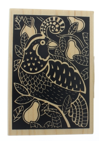 Day of Christmas Partridge in a Pear Tree Inkadinkado Bird Wooden Rubber Stamp
