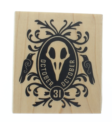 Inkadinkado Halloween Mask October 31 Crows  Wooden Rubber Stamp