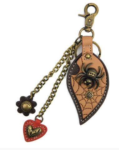 Chala Fall Spider on a Leaf Key Chain Purse Leather Bag Fob Charm New