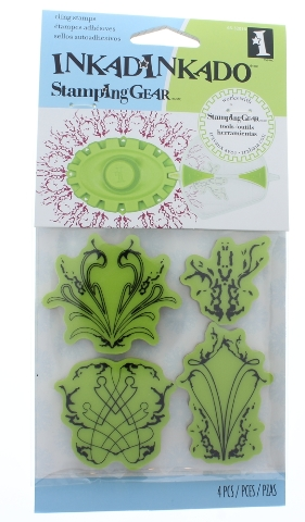 Inkadinkado Spiraling Inferno of leaves Flames Inspired floral design Cling Rubber Stamp