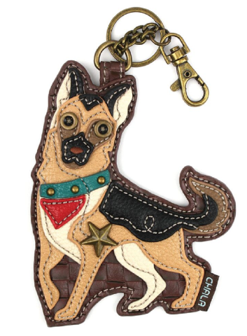 Chala German Shepherd Whimsical Key Chain Coin Purse Bag Fob Charm