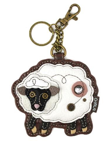 Chala Fluffy Sheep Flower Whimsical Key Chain Coin Purse Bag Fob Charm