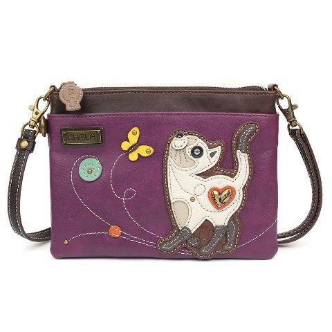 Charming Chala Skinny Cat Kitty Kitten w Butterfly Crossbody Bag Handbag Purse