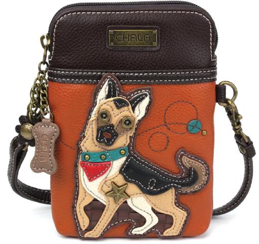 Charming Chala German Shepherd Dog Cell Phone Purse Mini Crossbody Bag