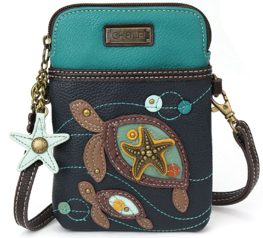 Charming Chala Olive Twin Turtles Cell Phone Purse Mini Crossbody Bag