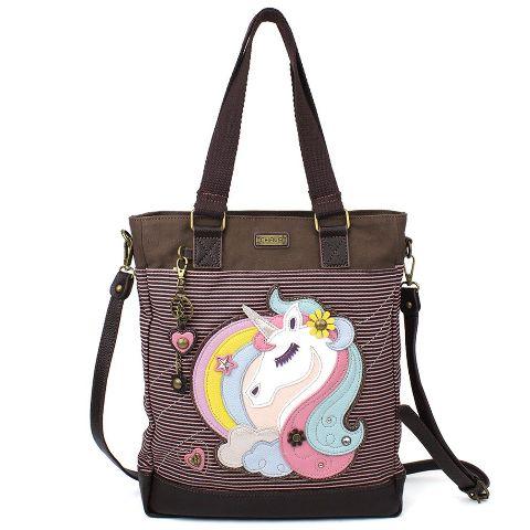 Charming Chala Purse Handbag Leather & Canvas Work Tote Bag Magical Unicorn