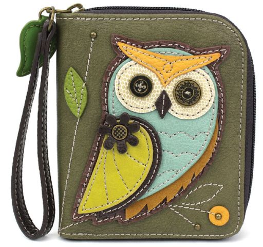 Charming Chala Olive Owl Purse Wallet Credit Cards Coins Wristlet