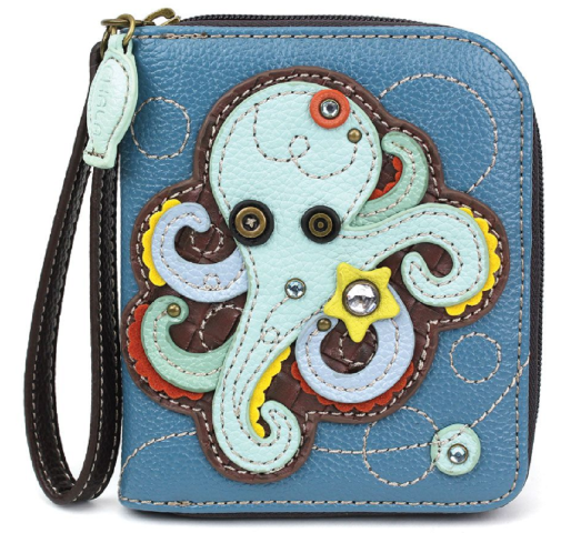 Charming Chala Octopus Purse Wallet Credit Cards Coins Wristlet