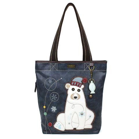 Chala Purse Handbag Everyday Zip Tote II Polar Bear with Fish Faux Leather