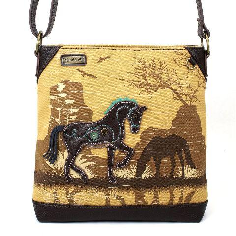 Charming Chala Safari Print Canvas Crossbody Horse Lover Brown Bag Handbag Purse