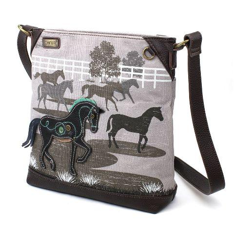 Charming Chala Safari Print Canvas Crossbody Horse Lover Gray Bag Handbag Purse